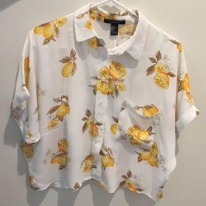 Cropped Lemon Pattern Shirt